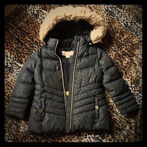 Michael Kors Black Leopard Puffer Coat 4T